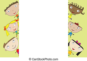 Cute cartoon kids with banner