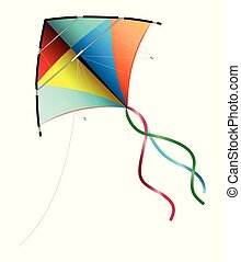 Cute cartoon kite isolated on a white background. Vector illustration.