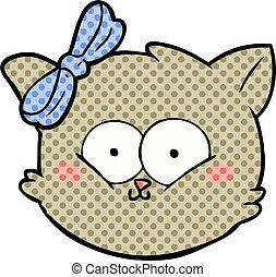 cute cartoon kitten face