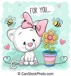 Cute cartoon Kitten with flower
