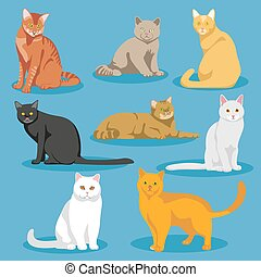 Cute cartoon kitties or cats vector set