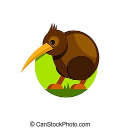 Cute cartoon kiwi bird. Vector illustration. Isolated