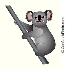 Cute cartoon koala isolated on a white background. Vector illustration.