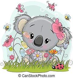 Cute Cartoon Koala on a meadow