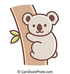 Cute cartoon koala on tree branch. Simple vector ...