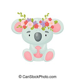 Cute cartoon koala. Vector illustration on white background.