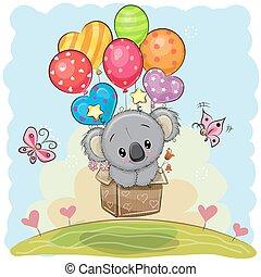 Cute Cartoon Koala with balloons - Cute Cartoon Koala in the...