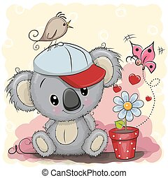 Cute cartoon Koala with flower