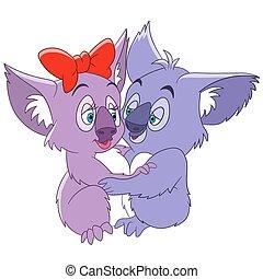cute cartoon koalas - two cute romantic and lovely cartoon...