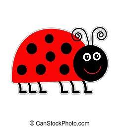 Cute cartoon lady bug. Isolated.