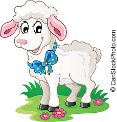 Cute cartoon lamb - vector illustration.