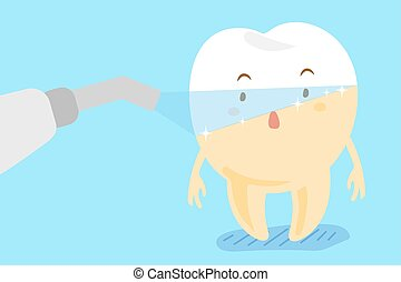 laser teeth with whitening concept - cute cartoon laser...