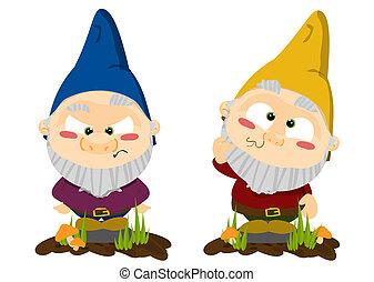 Cute cartoon lawn gnomes illustration