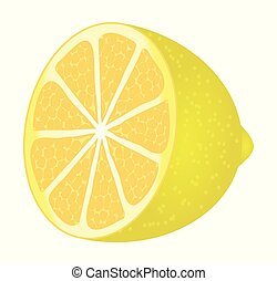 Cute cartoon lemon isolated on a white background. Vector illustration.