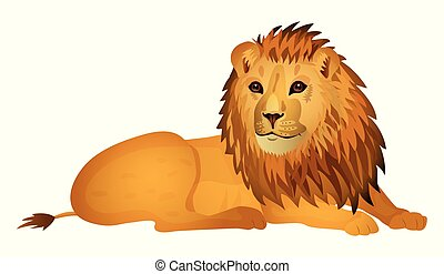 Cute cartoon lion isolated on a white background. Vector illustration.