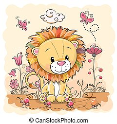 Cute Cartoon Lion on a meadow