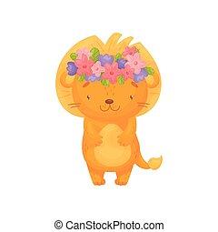 Cute cartoon lion. Vector illustration on white background.