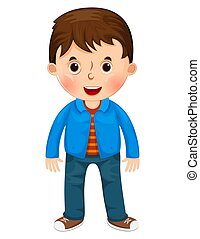 Cute cartoon little boy character vector illustration