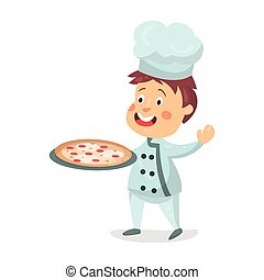 Cute cartoon little boy chef character holding a pizza in a cooking tray vector Illustration