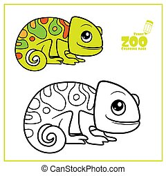 Cute cartoon little chameleon color and outlined on a white background for coloring page