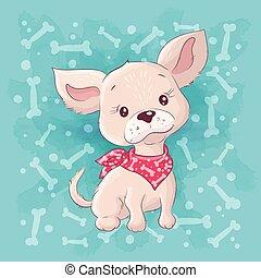 Cute cartoon little dog, little puppy. Hand drawing