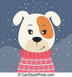 Cute cartoon little dog puppy on winter background.