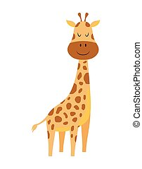 cute cartoon little giraffe isolated on white