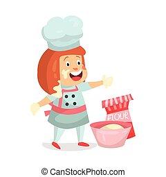 Cute cartoon little girl chef character baking vector Illustration
