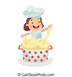 Cute cartoon little girl chef character kneading the dough vector Illustration