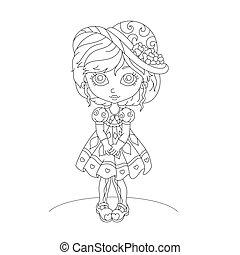 Cute cartoon little girl. Coloring book.