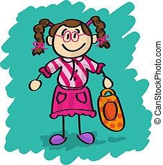 Cute cartoon little girl