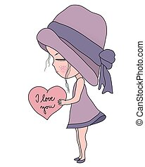 Cute Cartoon little girl in pink hat and dress holding heart with text I love you, simple flat sweet vector illustration, vintage style
