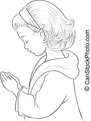 Cute Cartoon Little Girl praying with her hands folded vector coloring page