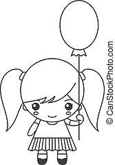 Cute cartoon little girl with balloon