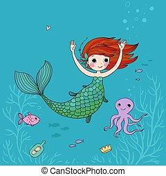 Cute cartoon little mermaid. Siren. Sea theme.