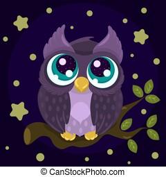 Cute cartoon little owl with big blue eyes