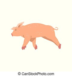 Cute cartoon little pig running vector Illustration on a white background
