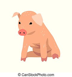 Cute cartoon little pig sitting vector Illustration on a white background