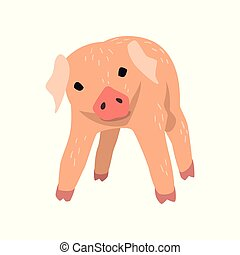 Cute cartoon little pig vector Illustration on a white background