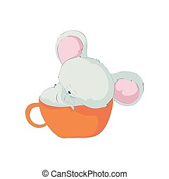 Cute cartoon little rat in a mug. Vector illustration on white background.