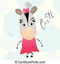 Cute cartoon little zebra in a pink dress.