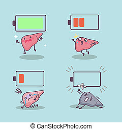cartoon liver with battery