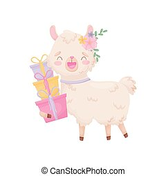 Cute cartoon llama holding gifts. Vector illustration on white background.