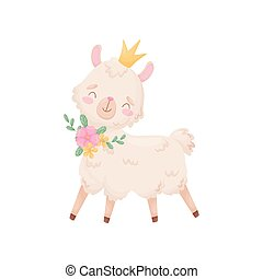 Cute cartoon llama with a crown on her head. Vector illustration on white background.