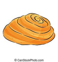 Cute cartoon loaf Isolated on the white background. Vector illustration.