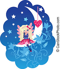 Cute cartoon love angel with heart