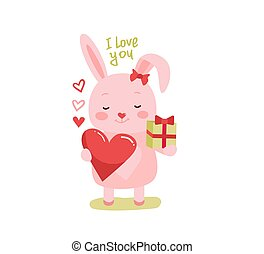 Cute cartoon lovely rabbit with pink large heart