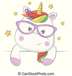 Cute cartoon magical unicorn with gold stars isolated on a white background.