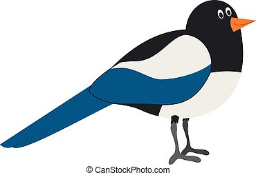 Cute cartoon magpie vector illustration