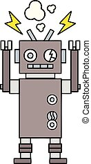 cute cartoon malfunctioning robot - cute cartoon of a ...
